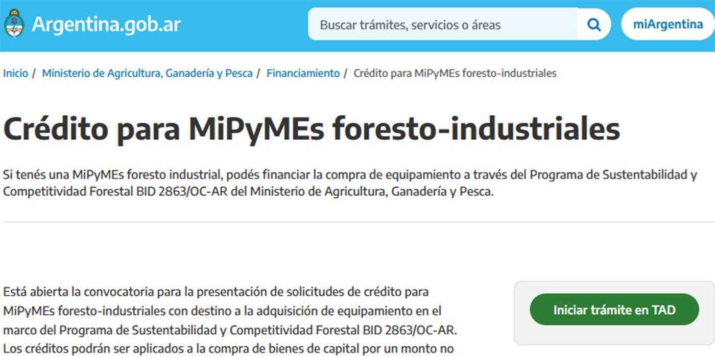 créditos equipamiento foresto industrial