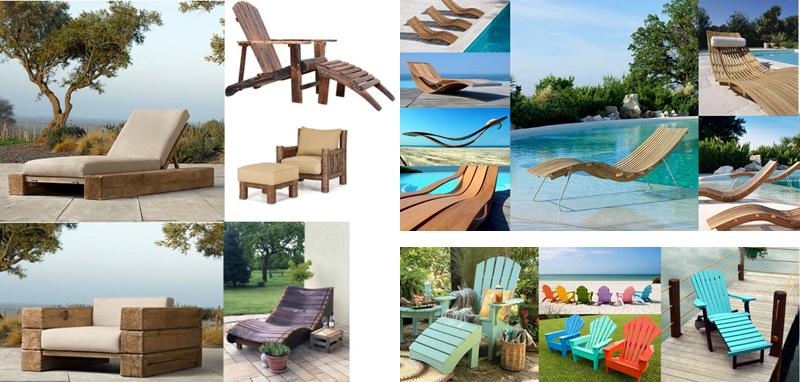 Reposeras de madera diseño